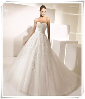Fashionable New High Quality Lace wedding dress 2014 custom made Beige vestido de noiva romantic wedding dresses bridal gown W89