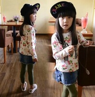White shirt for girls Strawberry and M letters printed cotton long sleeve Tshirts children fashion tops