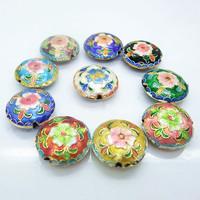 10 PCS Mixed Round Flat Primroses Flower Enamel Cloisonne Beads Chinese Traditional Handwork Loose Beads