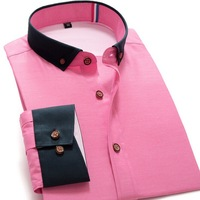 New 2014 Men's Dress Shirt Long-Sleeve Brand Dress Shirts Plus Size Hit Color stitching Fresh Dress Shirt S-3XL XG50-225