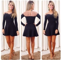S-XL  Europe and America women's Sexy transparent mesh stitching lace long-sleeved black dress #JM788