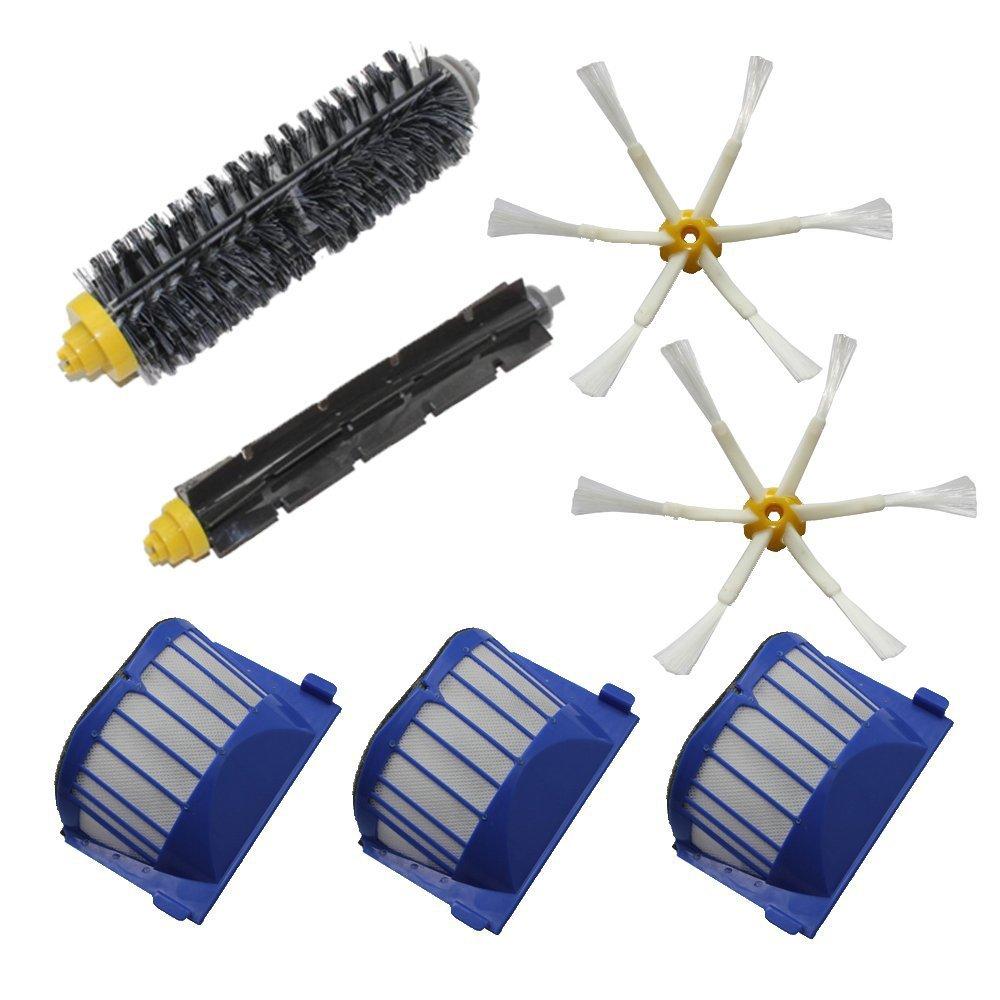 Aero Vac filtro escova de cerdas flexível batedor escova 6-Armed escova lateral para iRobot Roomba 600 Series(China (Mainland))