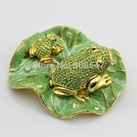 Factory Cheaper Price Sale Rhinestone Frog On Lotus Leaf  Enamelled Jewelry box-Trinket Gift Box