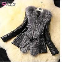Women's Slim Leather grass in women fashion long-sleeve fur coat fur coat PU leacther coat fur jacket
