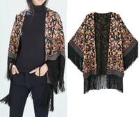 2014 New Autumn Women Vintage Ethnic Floral Paisley Print Loose Kimono Cardigan Tassels Bat Sleeve Shirts No Button Blouses Coat