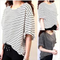 New 2014  fashion all-match tees basic women t shirt female top young girl stripe loose half sleeve HARAJUKU t-shirt 1122