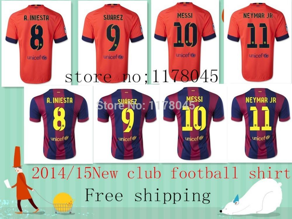 The new season soccer jersey 2014/15 Barcelonaes Thailand Quality Sportswear T shirt Training suit SUAREZ MESSI NEYMAR Shirt(China (Mainland))