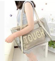 Transparent 2014 summer picture package beach bag jelly bag crystal women's shoulder bag