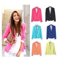 NEW 2014 Fashion candy color one button  women jacket women coat female  suit foldable jackets women clothes suit