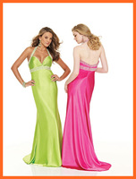 2014 Evening Dresses A Line Deep V Neck Halter Satin Ruched Beading Floor Length Party Dresses Women Gown