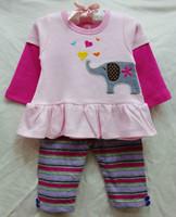 new baby girls longsleeve suit 2014 autumn original carters elegant tops+stripe leggings 2-piece set girl's clothing outfits