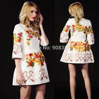 2014 European Brand Heavy Jacquard 3D painting Lanon Three quarter Print Flower dress O-neck Above knee Plus size Dresses Women