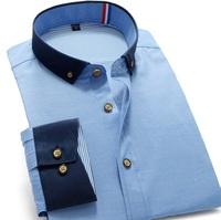 New 2014 Men's Dress Shirt Long-Sleeve Brand Shirts Plus Size Bright Color stitching Fashion Casual Dress Shirt S-3XL XG50-225