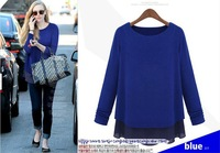 Free Shipping Euramerican New Fashion Women's Sweatshirts Thickening Chiffon Patchwork Sweaters Sexy Clothing Leisure Hot Sale