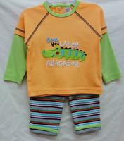 new baby boys longsleeve suit 2014 autumn kamacar crocodile T-shirts+stripe leggings 2-piece set boy's clothing outfits