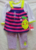 new baby girls longsleeve dress suit 2014 autumn kamacar stripe dress+floral leggings 2-piece set girl's clothing outfits