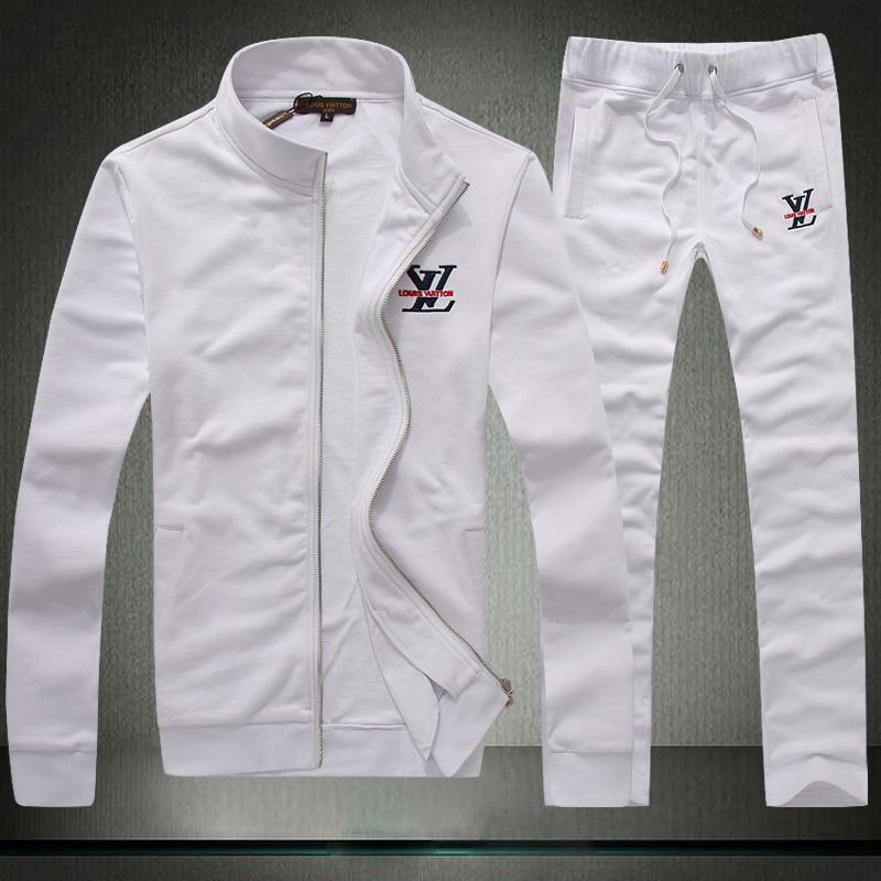 2014 fall fashion men's Brand logo sports suit lovers running 100% cotton sweatshirt jacket plus pants free shipping(China (Mainland))