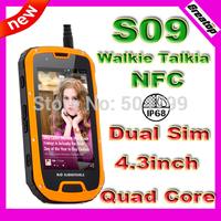 100% Original Aoro S09 MTK6589 Quad core Rugged Mobile phone Android4.2 IP68 Waterproof Shockproof Walkie Talkie RAM1GB+4GB NFC