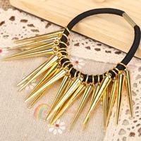 R1B1 Gorgeous Golden Long Rivets Horsetail Rope Hair Rope Hair Ring for Women