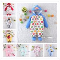 2014 Winter Newborn Soft Romper Cartoon cotton jumpsuit Baby warm clothes Mickey Minnie Monkeys  Free shipping  for 0-12M baby