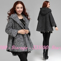 Brand Loose Woolen Blend Hooded Cape Trench Coat Casual Outerwear Long Sleeve Coat 2014 New Fashion Women Clothing 8013