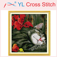 Maple Leaf and Cat Counted Cross Stitch Unfinished DMC Cross Stitch DIY Dimension Cross Stitch Kits for Embroidery Needlework