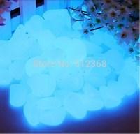 Free Shipping 100pcs Blue Glow in the Dark Fluorescent Pebbles Stones Garden Walkway Parterre Decor