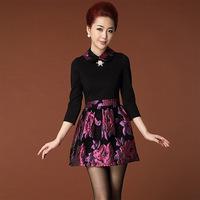XXXL 2014 Autumn winter desigual Women long sleeve plus size casual black dress elastic dresses with lining drop shipping B2091