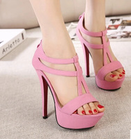 size 34-39 women's high heels cross strap t strap platform sandals sexy sandals shoes 3 colors sy-93