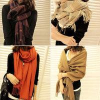 Supernova Sale,190*60cm Luxury Woolen Fall Winter Scarves For Women Scarf Female Tassel Super Long Plaid Scarf For Four Seasons