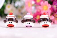 Free Shipping 50PCS/Lots Very Hot and Kawaii Resin Cartoon Christmas big mouth monkey Aliens cabochons FOY DIY 30*27