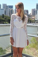 New 2014 hot sale  Women Clothing Elegant Lace Sleeve Patchwork White Chiffon One-Piece Dress Women Casual Mini Dress 4color 956