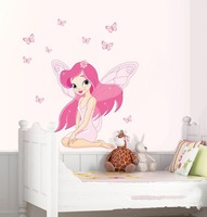 Wall Stickers Pink Cartoon Home Decoration Lovely Girl Butterfly Wall Decals for Kids Living Room