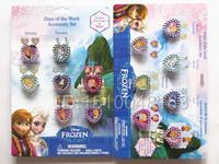 35pcs Rings+70pcs sticker Earrings Free Shipping cartoon Frozen Plastic Rings  jewelry for kids 2 Styles to Choose