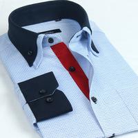 New 2014 Men'S Authentic Brand Dress Shirts Casual Stitching Double Collar Cotton Dress Shirts Men'S Shirts Wholesale XG8-229