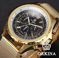 Hardlex Fashion & Casual Limited Promotion 2014 Watches Men Brand Orkina Golden Stainless Steel Bracelet Quartz Watch Auto Date
