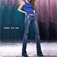 New arrival vintage women's bell-bottom jeans mid waist slim waist slim butt-lifting boot cut trousers