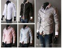 Men's Slim Luxury Stylish Casual Shirts M L XL XXL Grey/Light blue/Pink/Black/white Wholesale & Retail