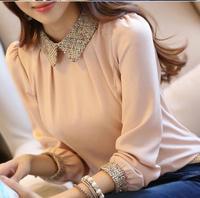 2014 new fashion Korean lady long sleeve lace chiffon shirt peter pan collar lantern sleeve women blouse  size s-2xl 8009