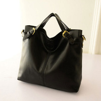 2014 High Quality PU Leather Women's Tote Fashion Vintage Black Bag Women Shoulder Bag Crossbody WJ1039