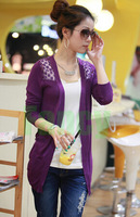 Factory Direct 11Colors New Fashion Women Sweater Crochet Hollow Out Lace Cardigan Knitted Sweater