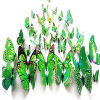 Free shipping - 12pcs/set , Green 3D Artficial Butterfly Wedding Decoration /Fridge Magnet / Refrigerator Magnet Butterfly
