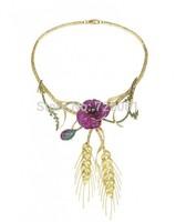 poppy flower 925 Silver pendants necklace bright jewelry  ruby  necklace women