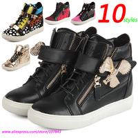 Black Eagle GZ Punk Genuine Leather Fashion Sneakers,10-style Double Zipper,Metal Decoration,Street Shoes,EU 35-39,Women's Shoes