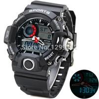 2014 New High Quality Alike Brand 50M Waterproof Green LED Light Analog Digital Watch Women Men Sports Watches Rubber WristWatch