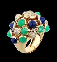 Playful bell ring 925 silver inlaid Blaupunkt Emerald