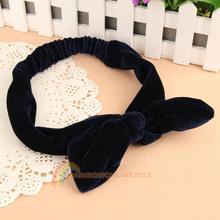 2014 R1B1 Lady Big Rabbit Ears Bowknot Pleuche Headband Hair Tie Ponytail Holder Navy Blue(China (Mainland))