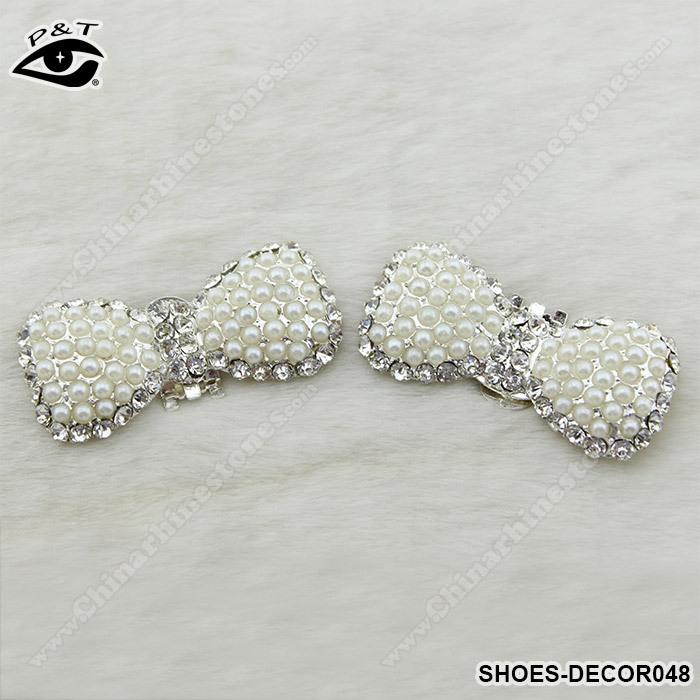2014 Nova Bow Design Pérola Strass Shoe Shoe Decor casamento Clipe 1 par / lot frete grátis(China (Mainland))