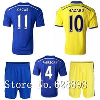 14/15 Chelsea Soccer jersey with shorts set 2015 FABREGAS HAZARD OSCAR t-shirts Football uniforms kit Home/blue Away/yellow