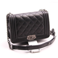 2014 cross-body small bags small plaid chain shoulder bag black plaid women's handbag fashion